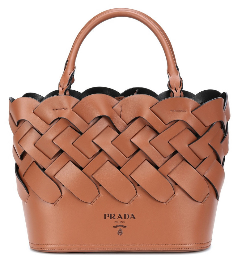 Prada Woven leather shopper in brown