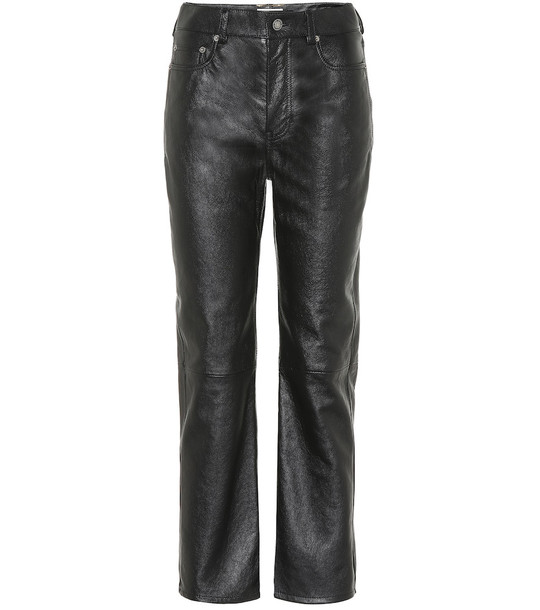 Saint Laurent High-rise leather straight pants in black