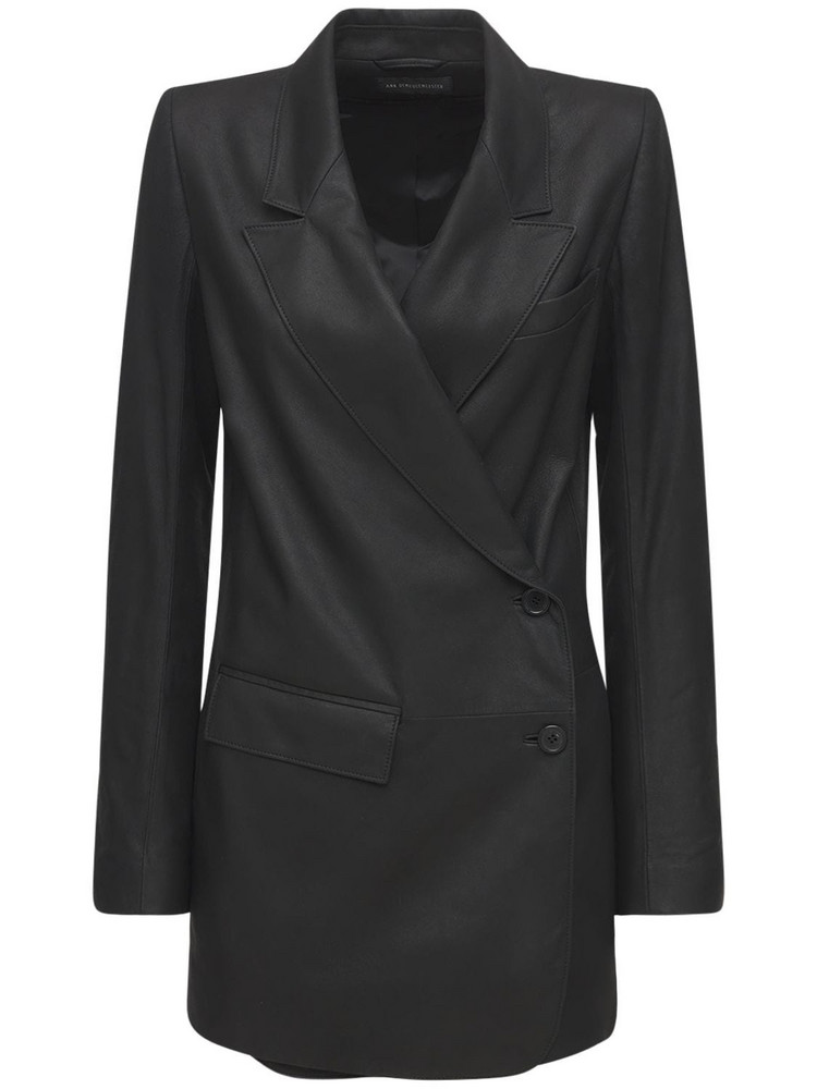 ANN DEMEULEMEESTER Angelina Double Breasted Leather Jacket in black