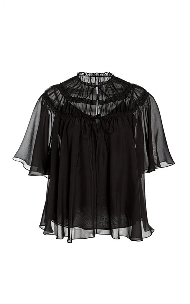 Noon by Noor Allentown Gathered Tie-Front Silk Top Size: 0 in black
