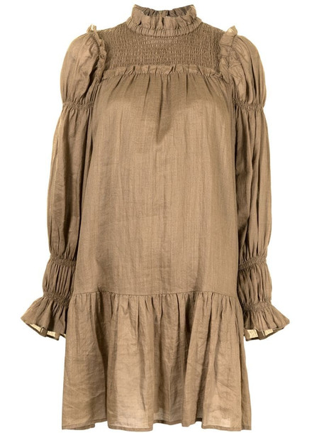 Sea New York Hattie ramie shift dress in brown