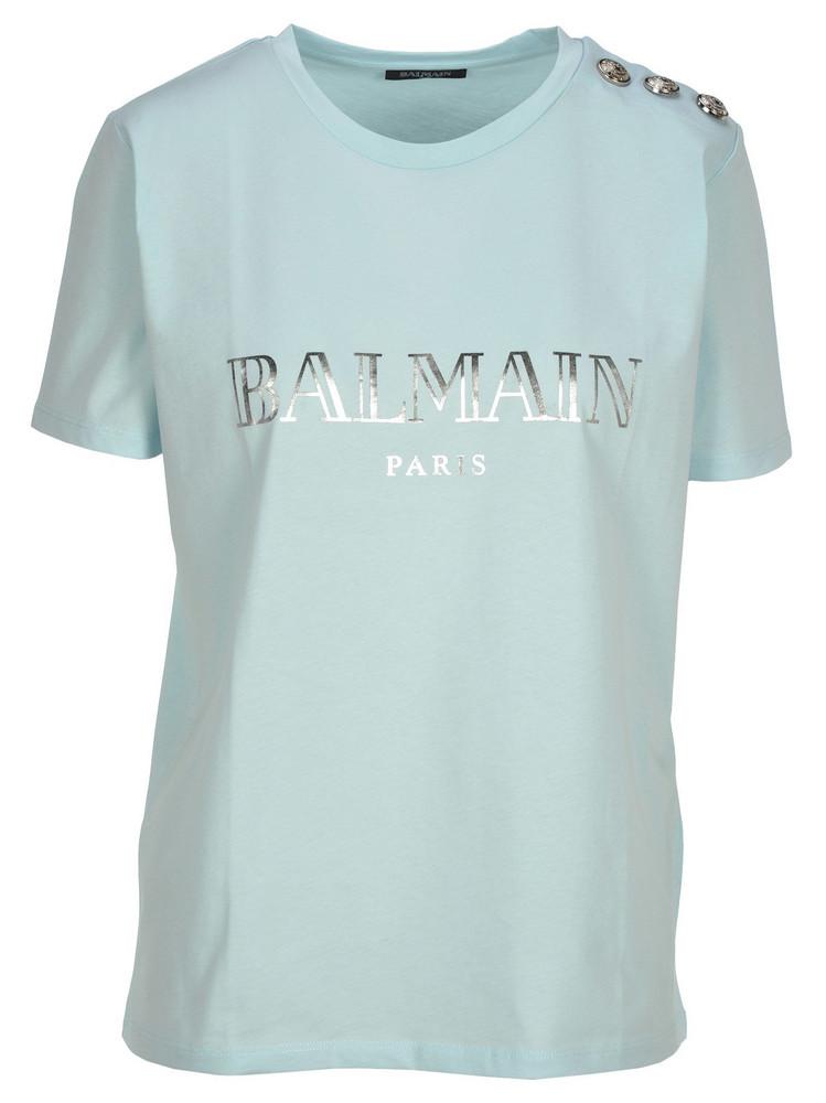Balmain Ss 3 Btn Balmain Logo T Shirt in blue