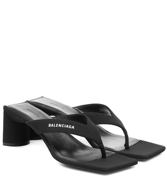 Balenciaga Logo-print T-bar sandals in black