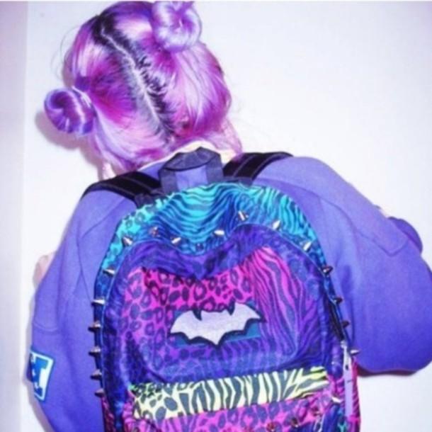 bag purple batman spikes lepoard print