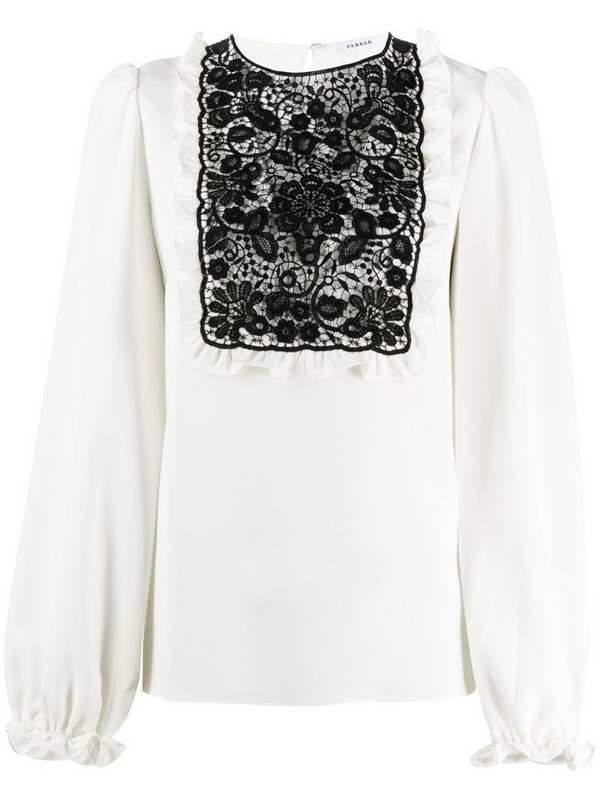 P.A.R.O.S.H. lace-chest blouse in neutrals