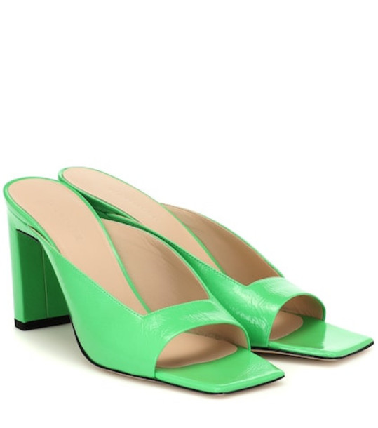 Wandler Isa patent leather sandals in green