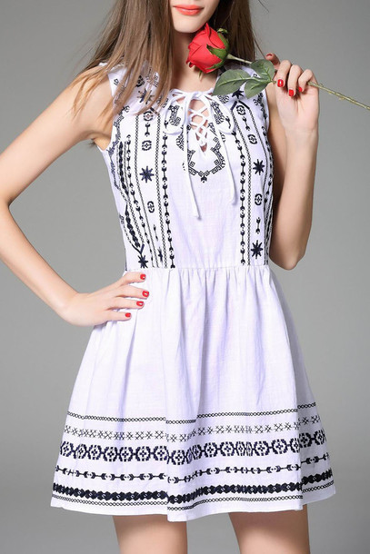 dress white boho fashion summer trendy style spring dezzal