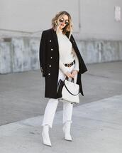 the courtney kerr,blogger,coat,sweater,jeans,shoes,bag,sunglasses,belt,ankle boots,gucci belt,white boots,spring outfits,white jeans,cropped jeans,white bag,black crop top,white sweater,turtleneck sweater