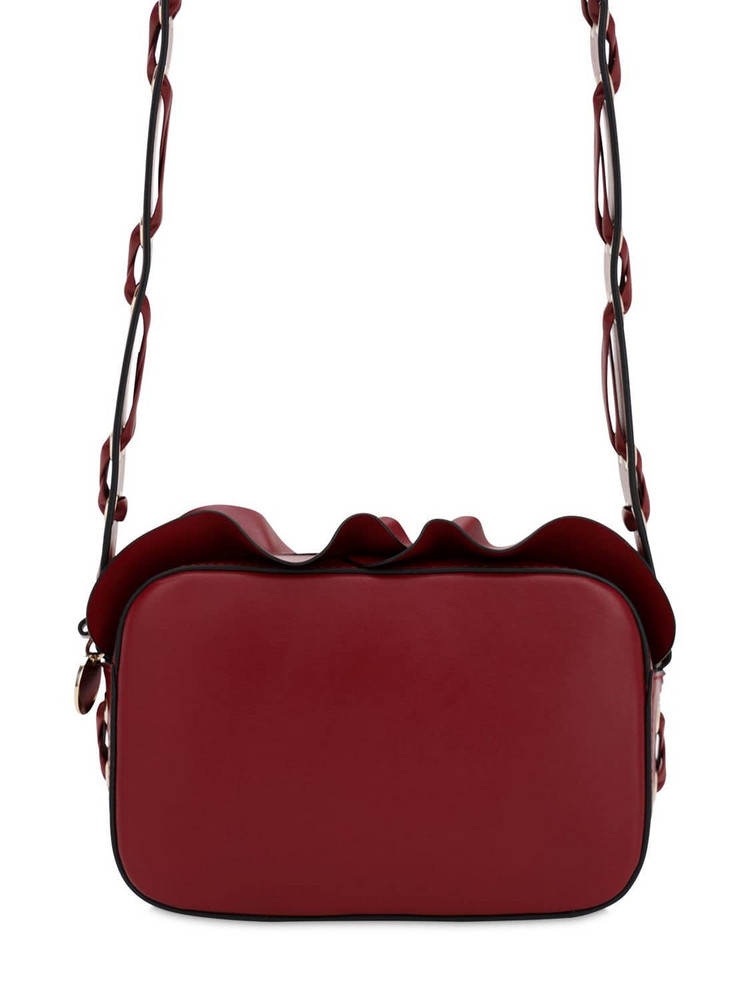 RED V Rock Ruffle Leather Camera Bag in red