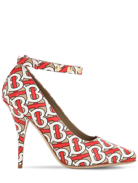 BURBERRY 105mm Wiltkin Printed Leather Pumps in red / multi