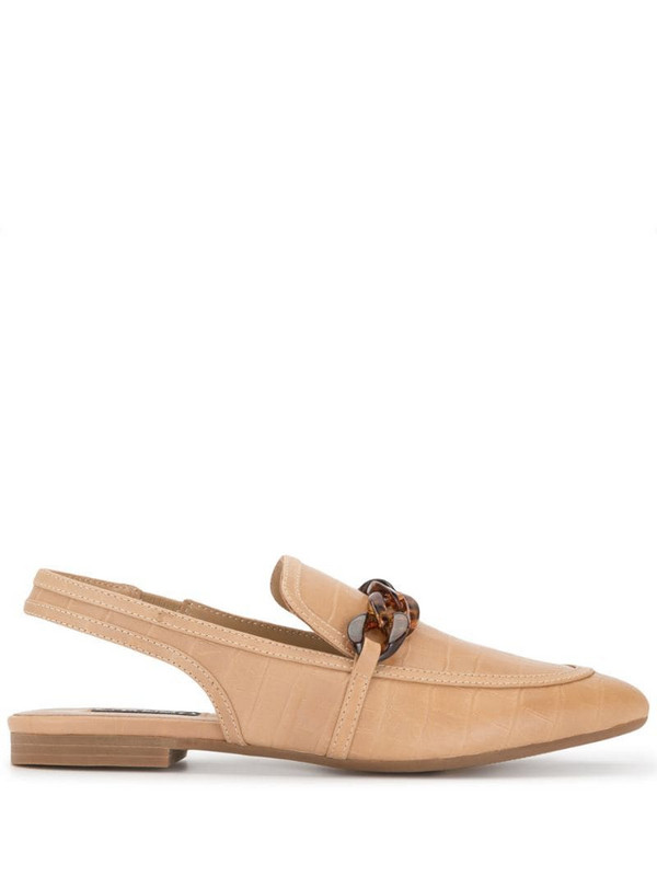 Senso chain-link sling back loafers in brown