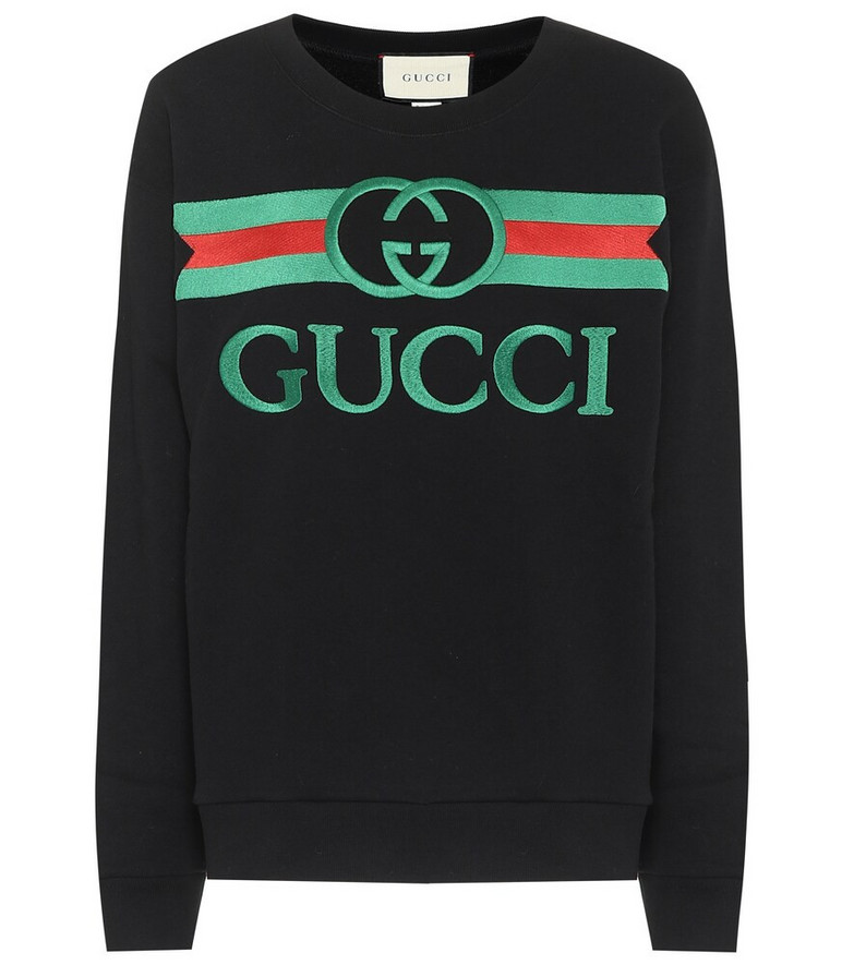 Gucci Embroidered logo cotton sweatshirt in black