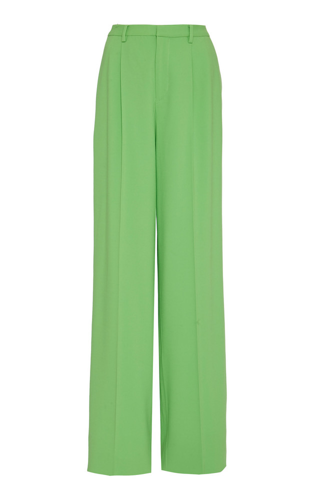 Ralph Lauren Winnifred Wool Crepe High-Rise Wide-Leg Pants Size: 0 in green