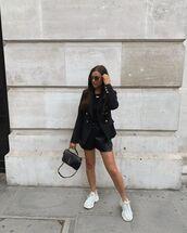 shorts,black shorts,black bag,ysl bag,sneakers,black top