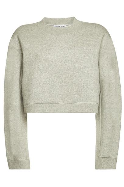 alexanderwang.t Cropped Cotton Sweatshirt  in grey