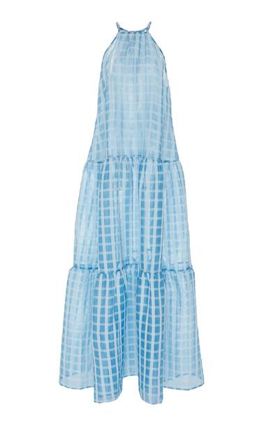 Cult Gaia Linda Grid-Print Organza Dress Size: M in blue