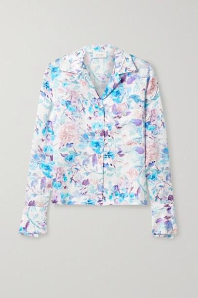 Art Dealer - Floral-print Silk-satin Jacquard Shirt - White