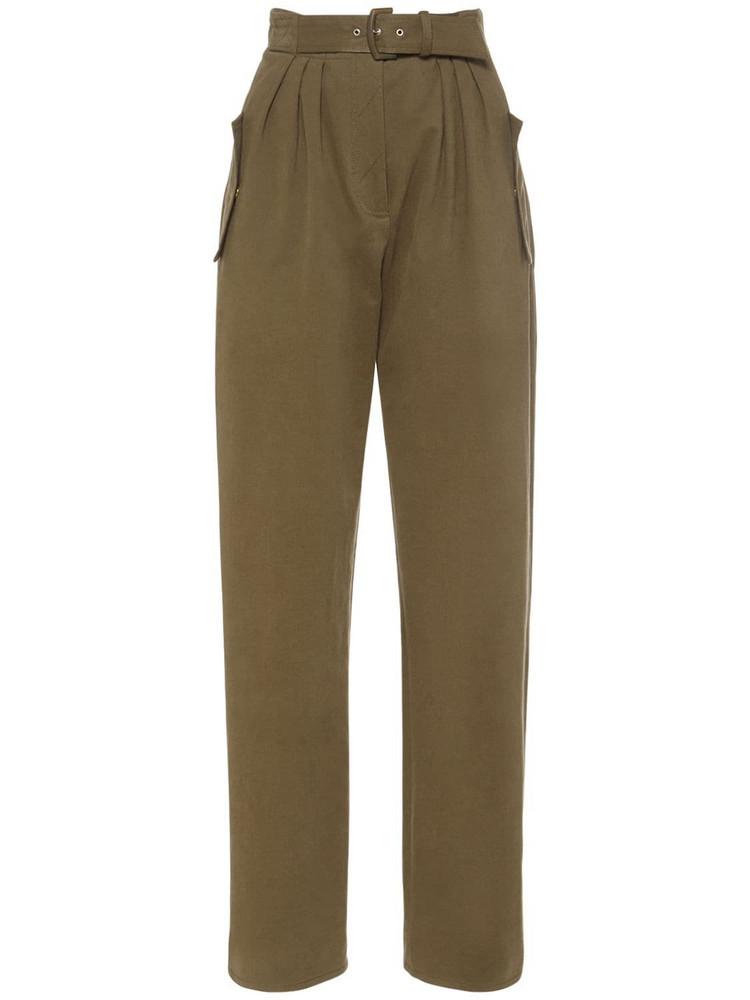 ALBERTA FERRETTI Stretch Cotton Gabardine Pants W/belt in green