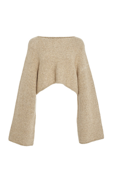 Sally LaPointe Cropped Asymmetric Knit Sweater in neutral