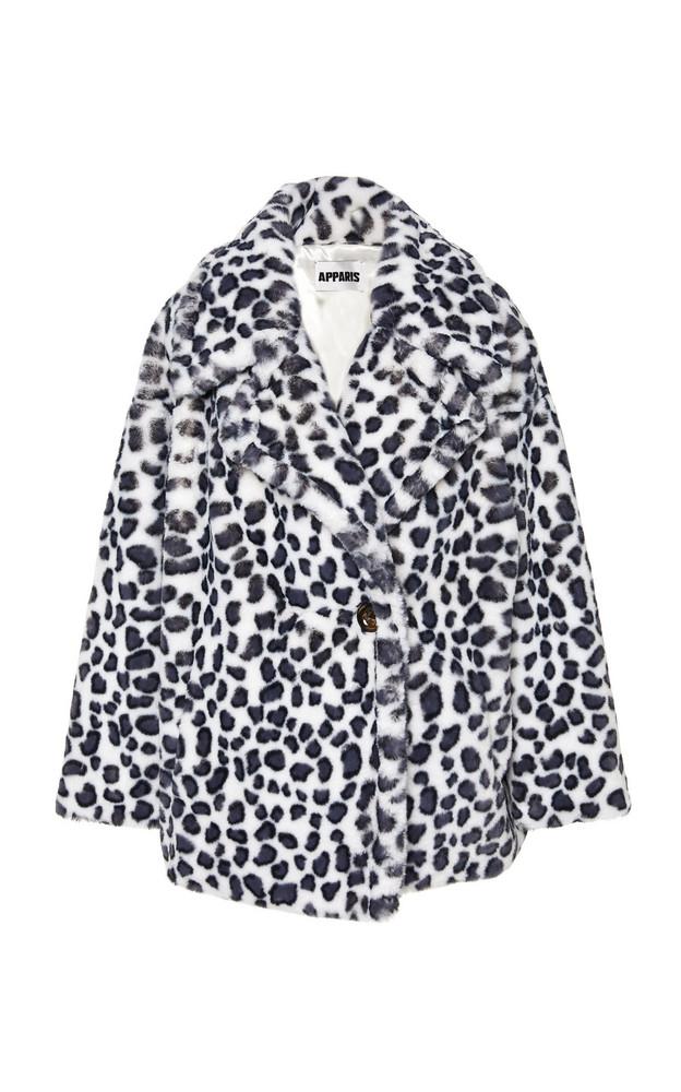 Apparis Amelia Leopard Spot Crop Jacket in white
