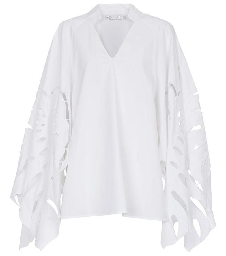 Oscar de la Renta Cut-out cotton-blend blouse in white