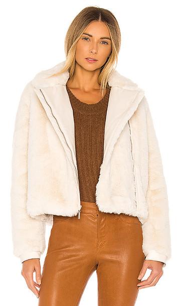 J Brand Isleen Faux Fur Jacket in Cream