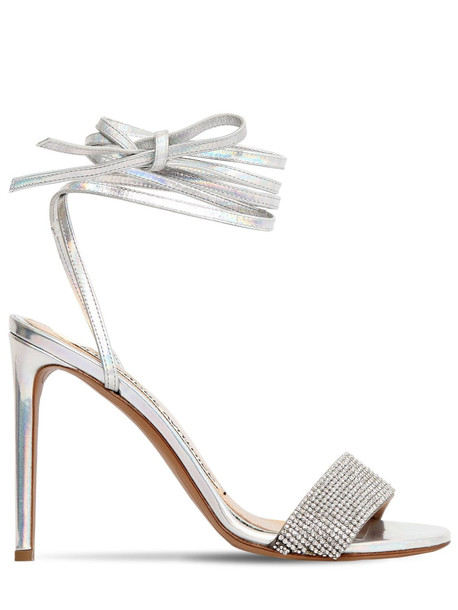 ALEXANDRE VAUTHIER 100mm Kim Leather Sandals W/ Crystals in silver