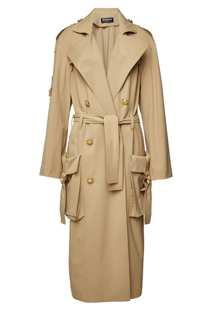 Balmain Trench Coat with Embossed Buttons  in beige / beige