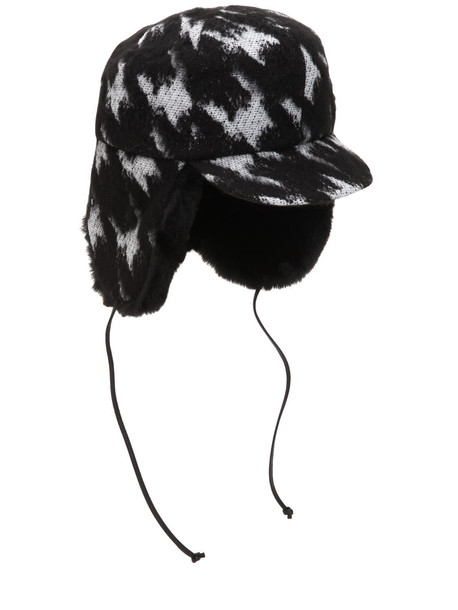 EUGENIA KIM Sammy Houndstooth Trapper Hat in black / white