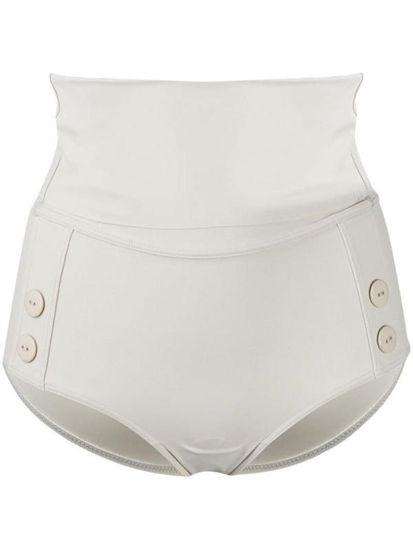 12 STOREEZ high-waisted buttoned bikini bottoms in neutrals