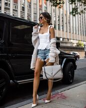 top,white top,denim shorts,pumps,cardigan,ysl bag,tank top,sunglasses,heels,bag