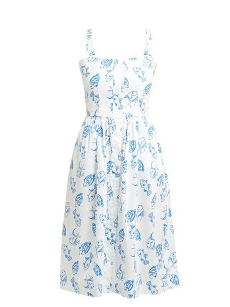 Hvn - Laura Fish Print Cotton Blend Midi Dress - Womens - White Multi