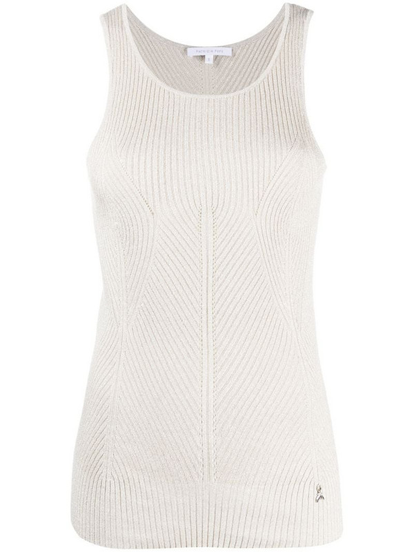Patrizia Pepe ribbed tank top in neutrals
