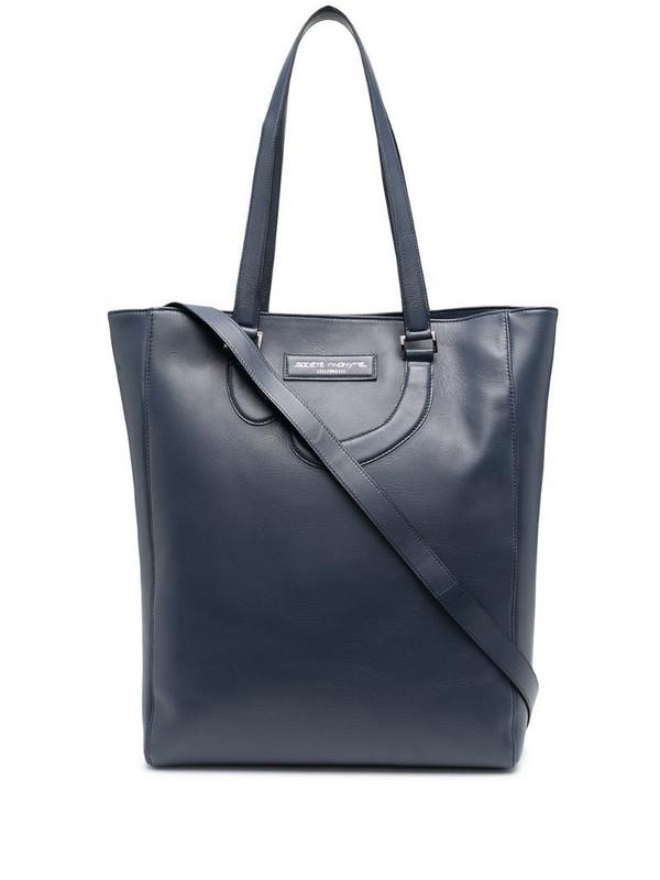Société Anonyme leather appliqué detail tote bag in blue