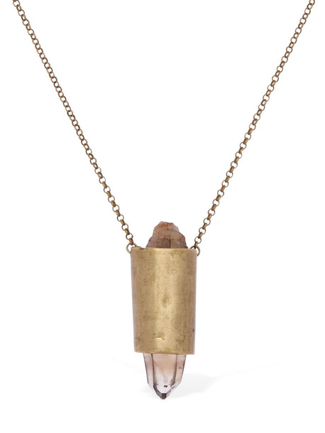 11X MILANO Long Necklace W/ Hyaline Quartz Charm in brown / gold