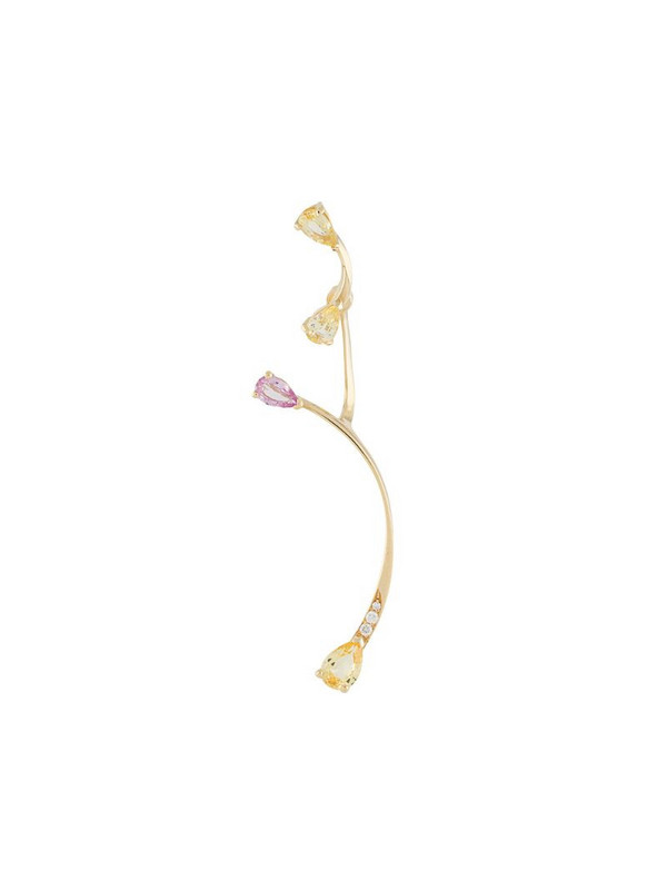 LE STER 18kt yellow gold diamond Lemon Flare left ear stud with Rose More jacket
