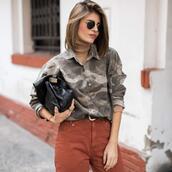 ms treinta,blogger,shirt,jeans,shoes,bag,camouflage,camo shirt