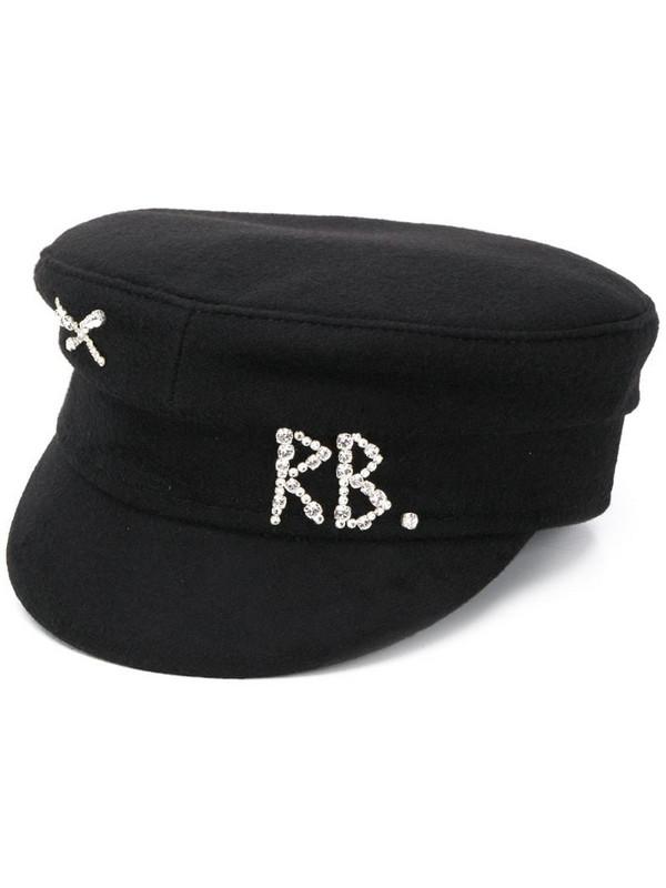 Ruslan Baginskiy monogram embellished baker boy hat in black