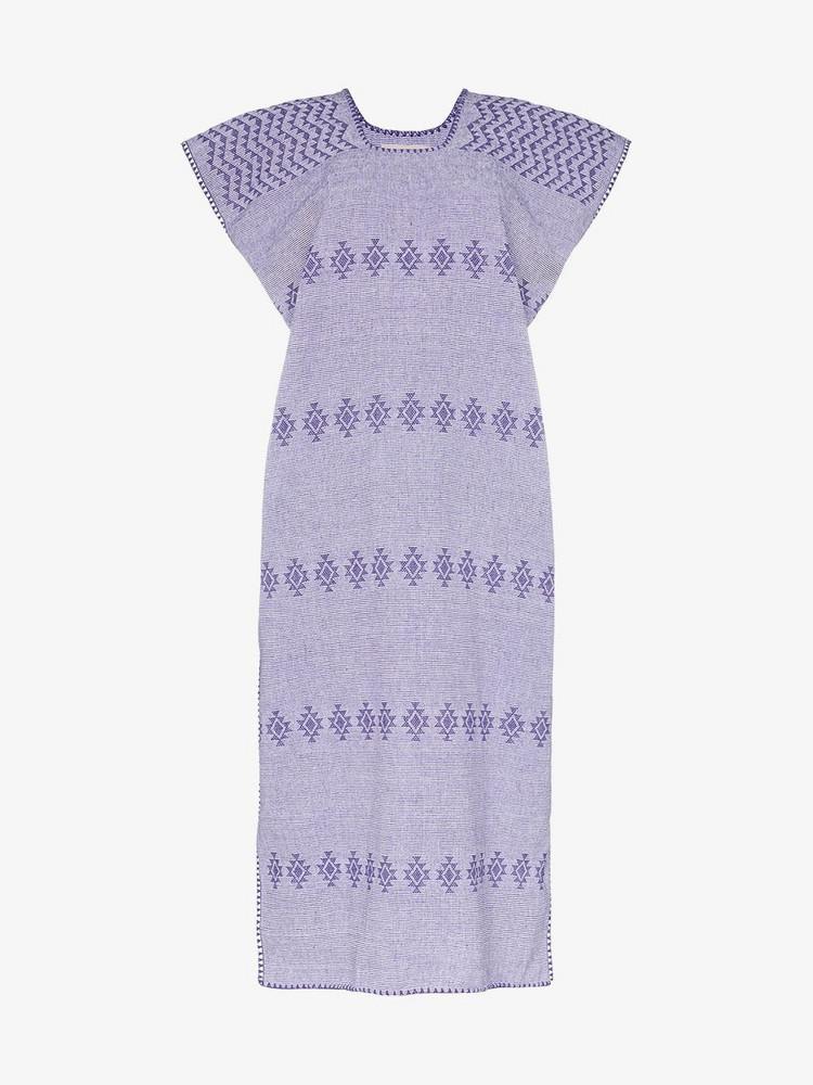 Pippa Holt embroidered kaftan midi-dress in purple