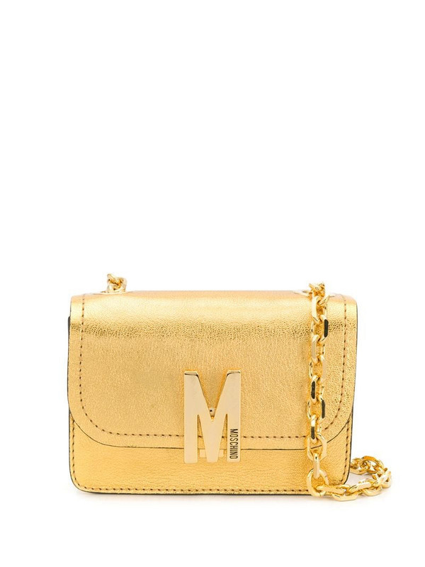 Moschino M logo-plaque shoulder bag in gold