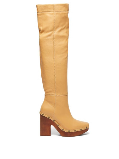 Jacquemus - Sabots Leather Over The Knee Boots - Womens - Cream