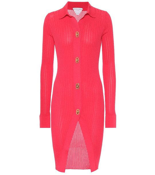 Bottega Veneta Cotton and silk longline cardigan in pink