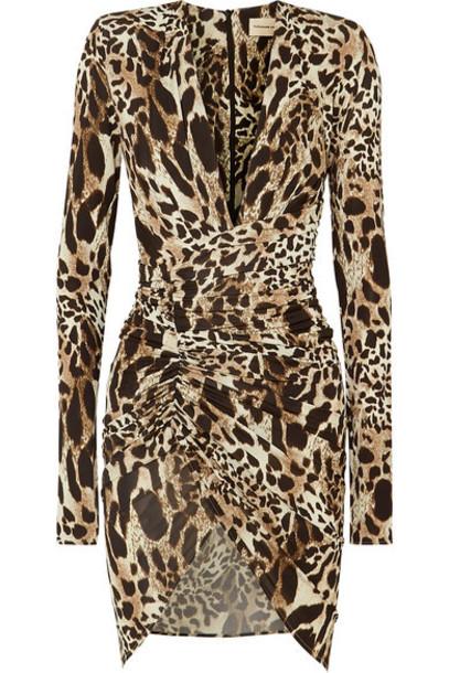 Alexandre Vauthier - Ruched Animal-print Stretch-jersey Mini Dress - Leopard print