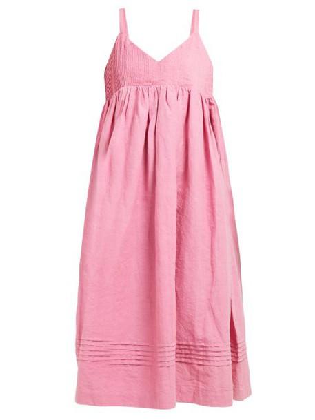 Story Mfg - Daisy Pintuck Bodice Cotton Dress - Womens - Pink