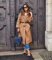 coat,beige coat,zara,slingbacks,straight jeans,dior bag,belt,white top