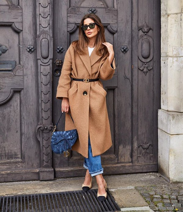 coat beige coat zara slingbacks straight jeans dior bag belt white top