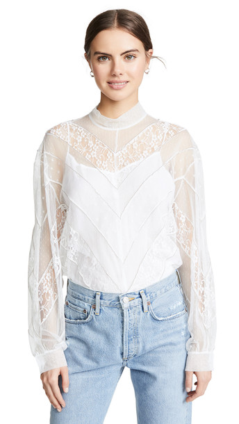 pushBUTTON Lace Turtleneck Top in white