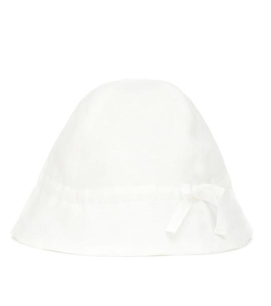 Bonpoint Baby Grigri linen hat in white