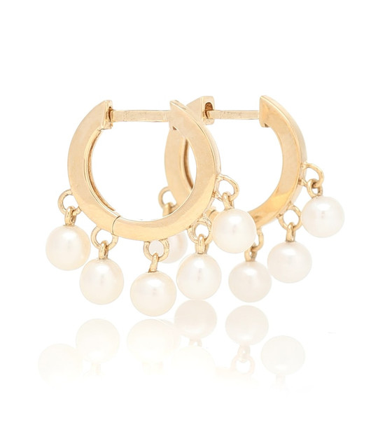 Sydney Evan 14kt gold hoop earrings with pearls