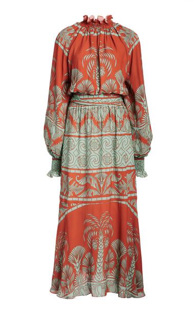 Johanna Ortiz Ataraxia Ruched Crepe Dress in multi